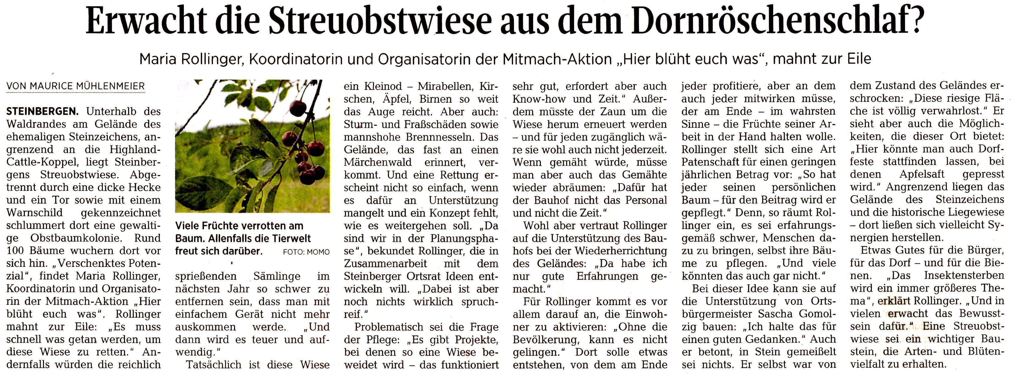 Streuobstwiese in Steinbergen - Schaumburger Zeitung 16.07.2019