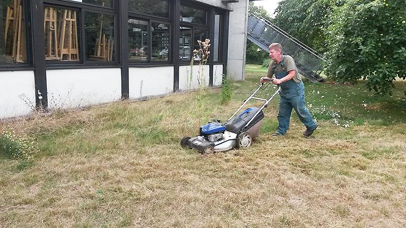 Hohes Gras - und dieser Rasenmäher ist sicherlich nicht gemacht um sowas zu mähen. Danke für die Schwerstarbeit!
