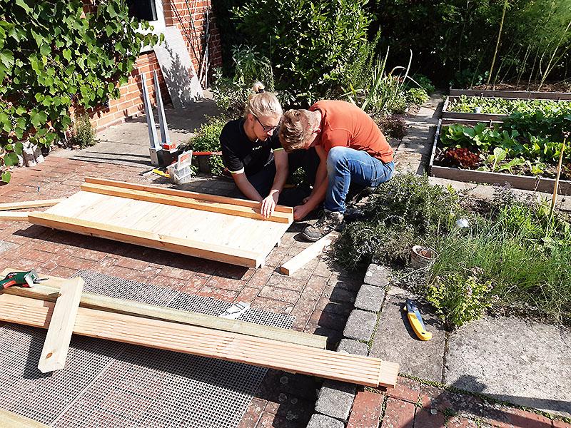 Paul und Malte leisten BuF-Dienst beim NABU und haben das Gründach vorbereitet.