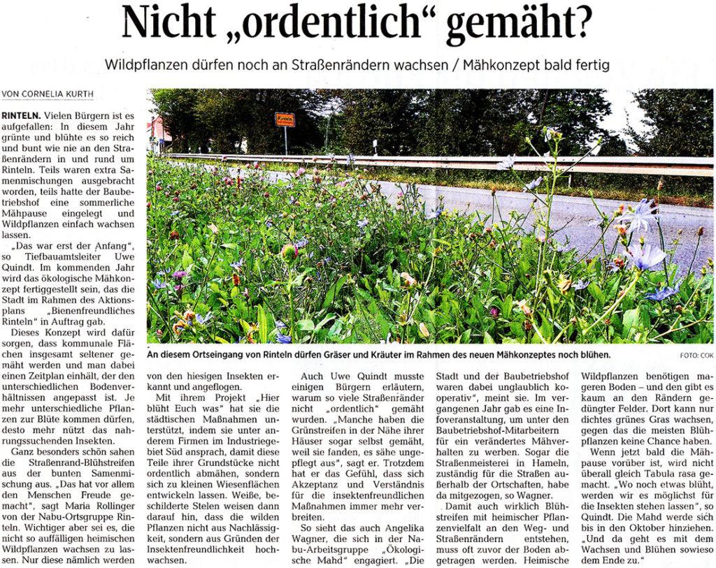 """Nicht """"ordentlich"""" gemäht? - Zeitungsartikel aus der Schaumburger Zeitung vom 03.09.2020"""