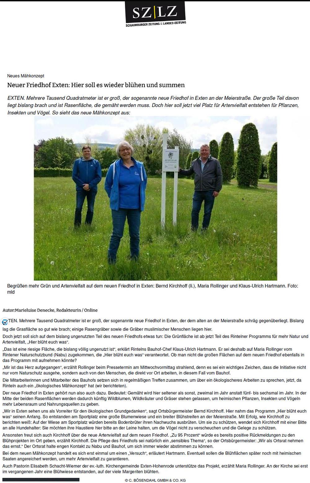 Neuer Friedhof Exten Hier blüht euch was! - (Zeitungsartikel 26.06.2021)