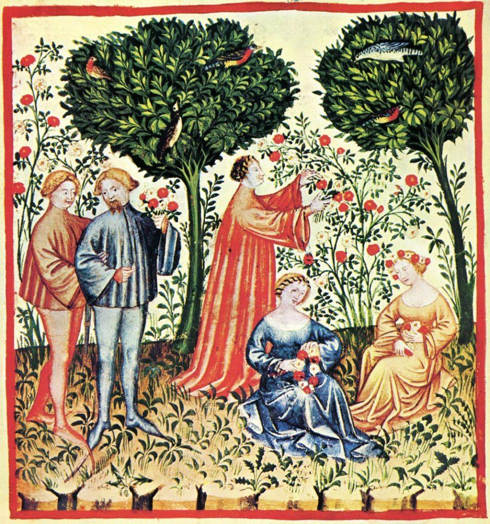 Mittelalterliche Gartenszene